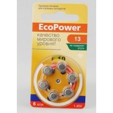 EC-002 Батарейка для слуховых аппаратов ECOPOWER 13